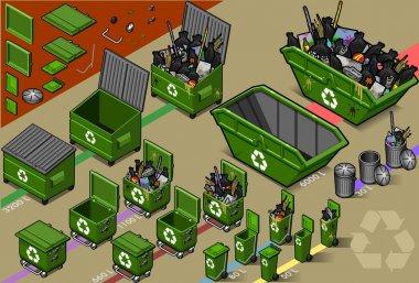 Isometric garbage container in varius sizes