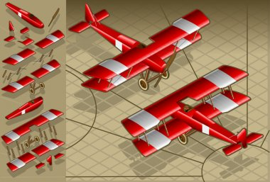 Isometric red biplane in two position
