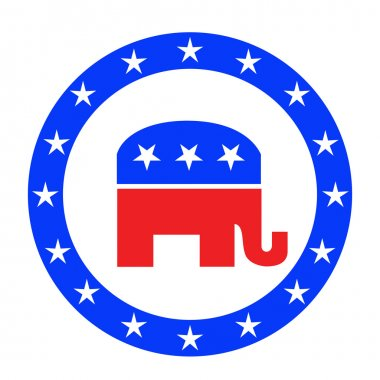 Republican button  isolated on white
