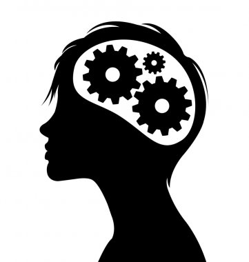 Thinking gears in head silhouette