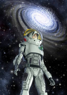 Astronaut and galaxy