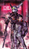 Fényképek robot katona és futurisztikus lány