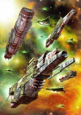 Spaceship space fleet