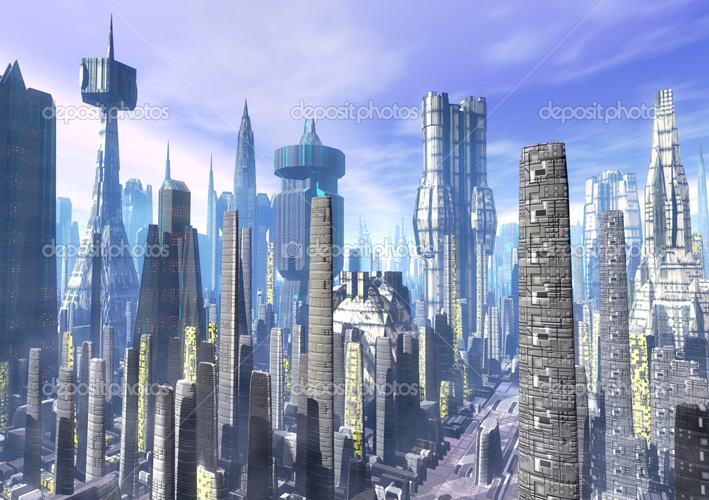 City futuristic landscape