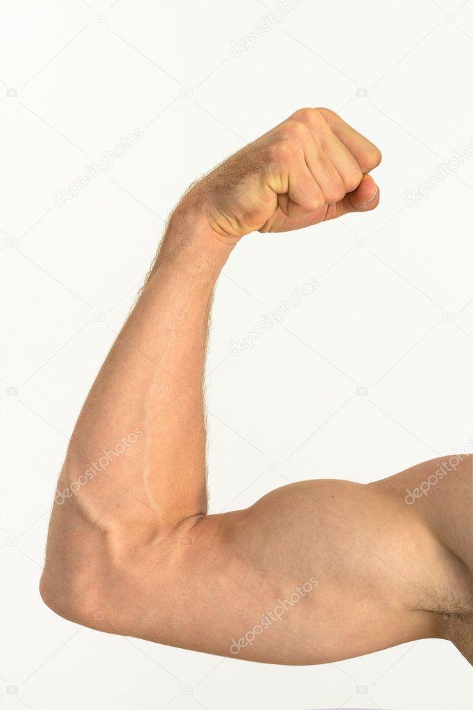 Foto de una flexión de brazo musculoso — Foto de stock © Dandaman ...