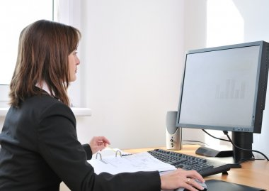 White collar worker at computer