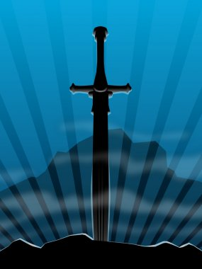 Background, sword in stone
