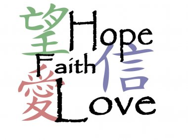 Chinese symbols for hope, faith and love