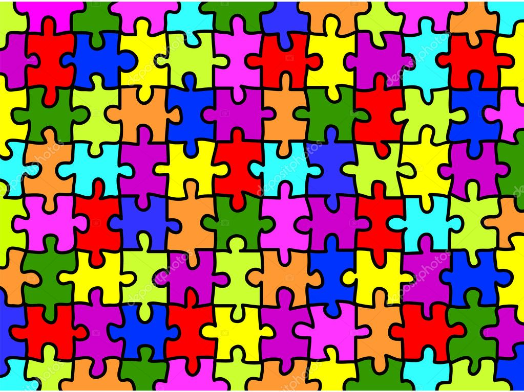 Colorful Jigsaw Puzzle Background Texture Stock Vector