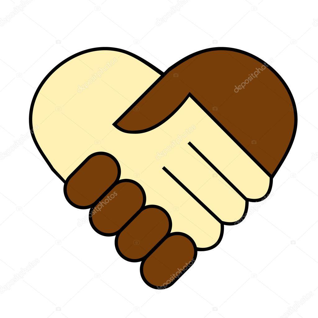 Hand shake between black and white man, heart shaped symbol