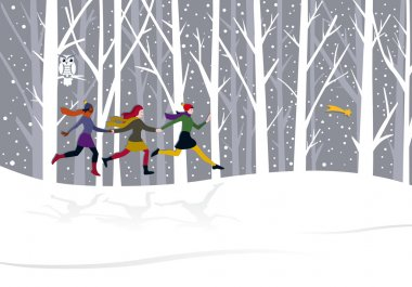 Three young girls running through the forest behind the Eastern Star clip art vector