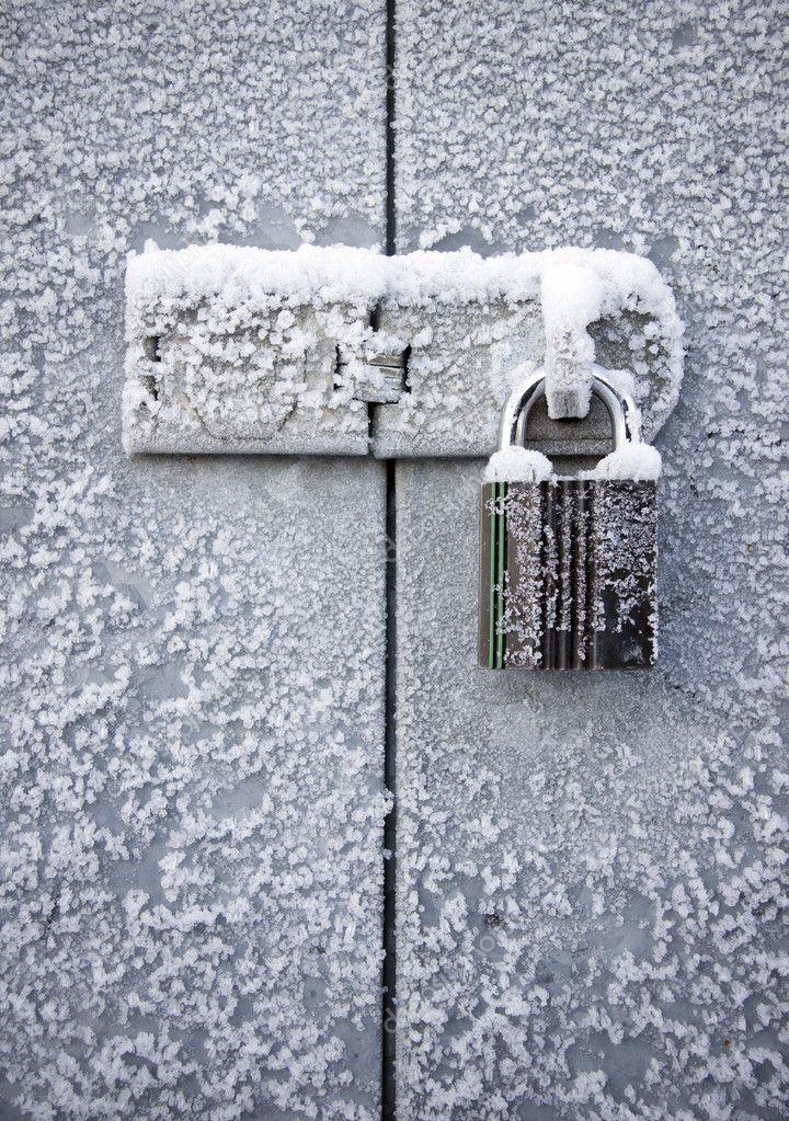 Padlock in winter
