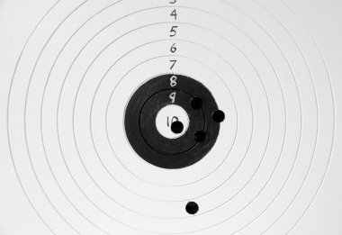 Close up of target with bullet holes stock vector