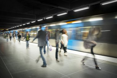 Blurred on subway platform