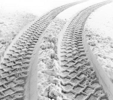 Tire tracks in snow
