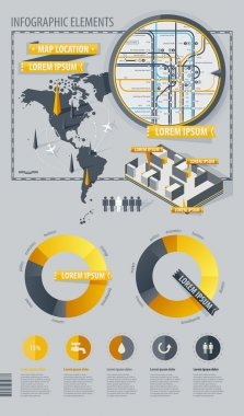 Infographic Elements with world map and a map of the subway stock vector