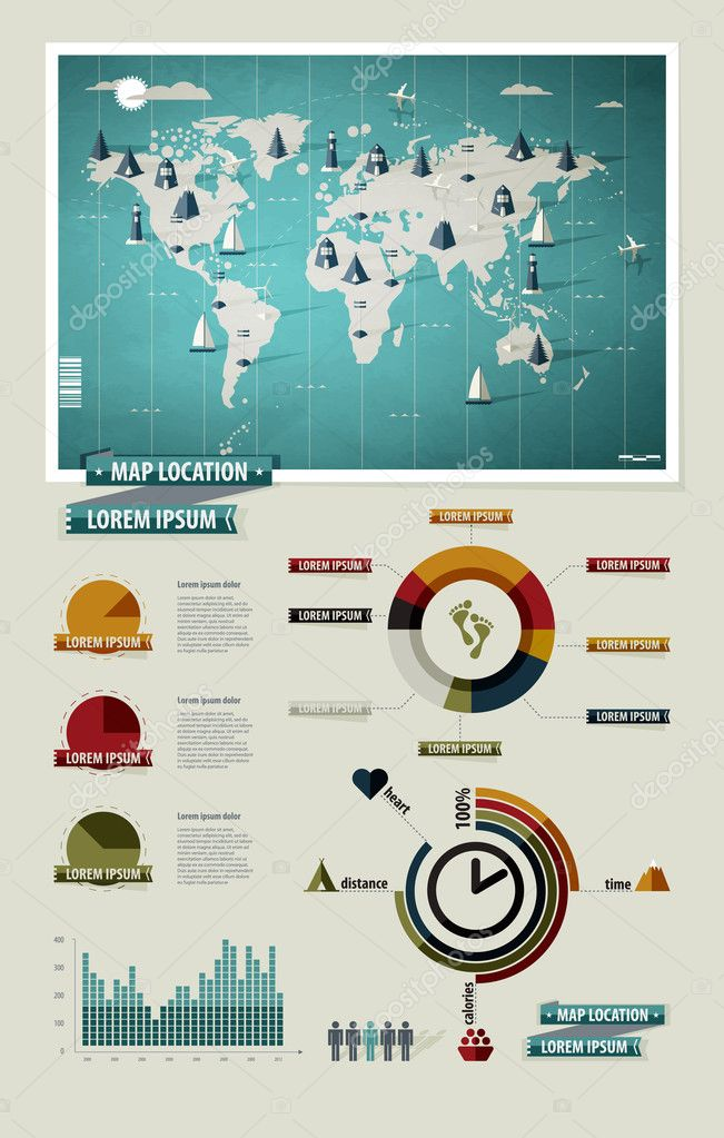 Set elements of infographics world map and information graphics set elements of infographics world map and information graphics stock vector gumiabroncs Images