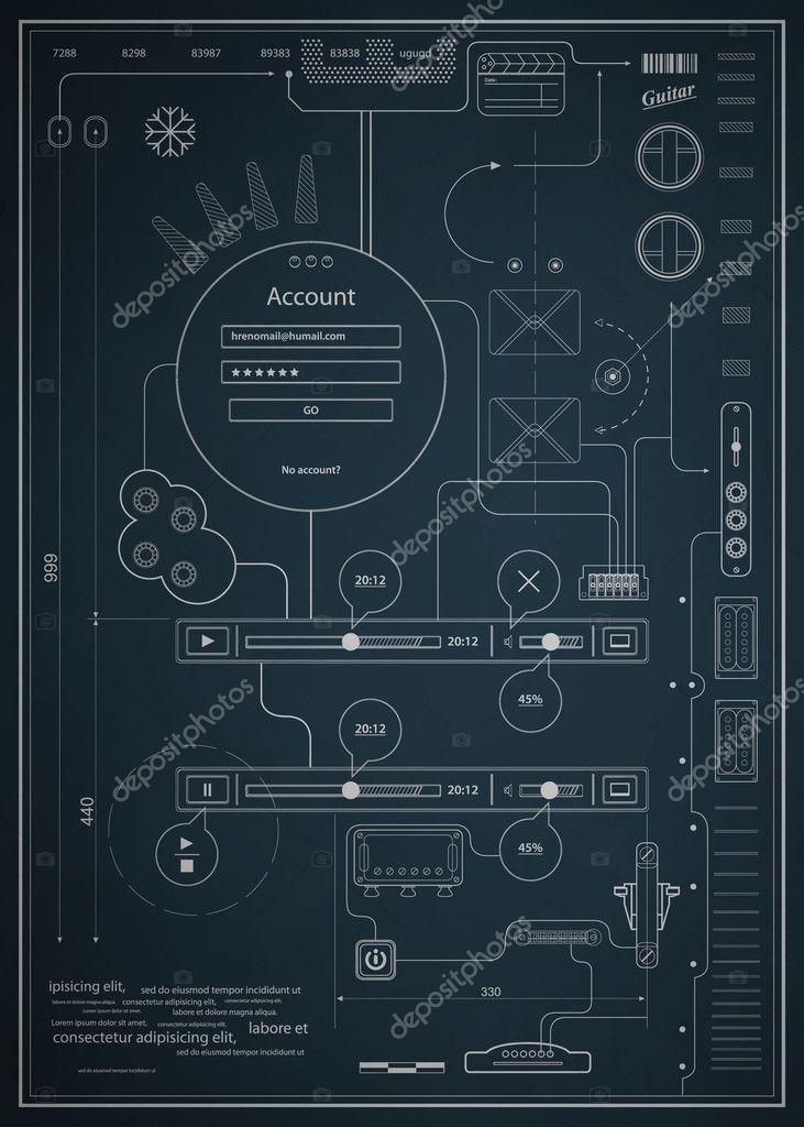 Blaupause Infografiken zeichnen eine schematische Abstraktion ...
