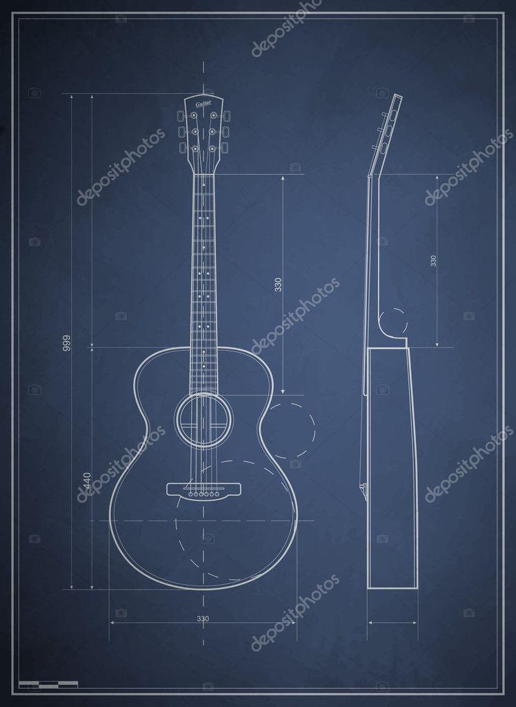 dibujo de guitarra acústica de seis planos — Archivo Imágenes ...