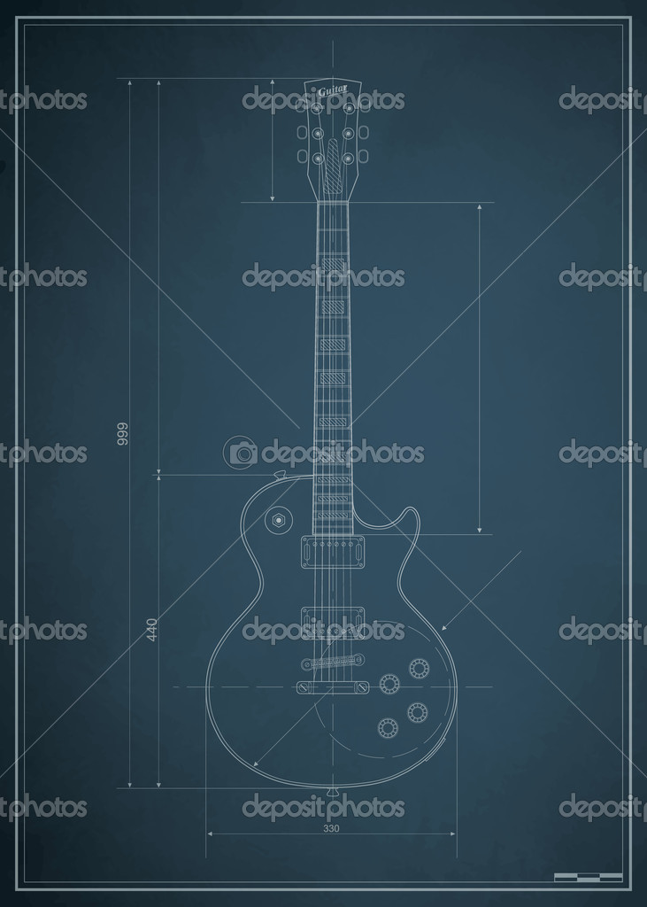 Blueprint electric guitar with the dimensions on paper — Stock ...