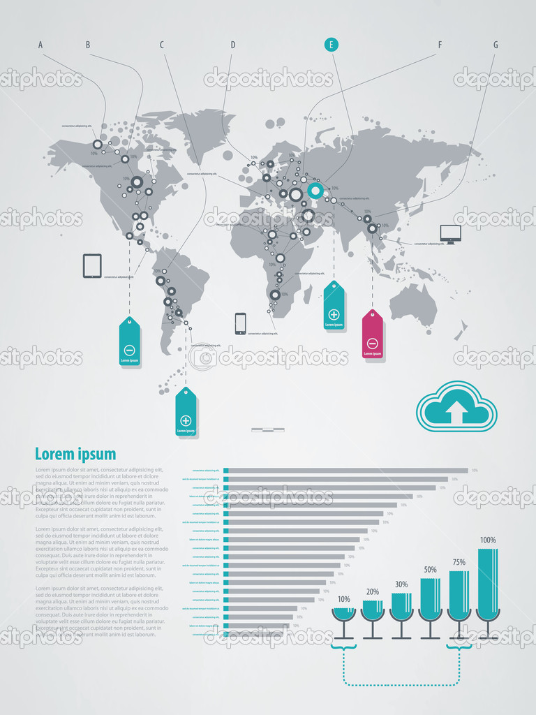 Infographics element with a map of the world