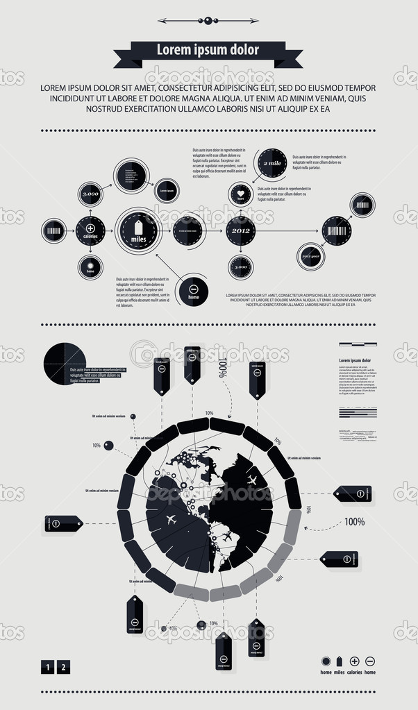 Elements of infographics with a map of America in retro style
