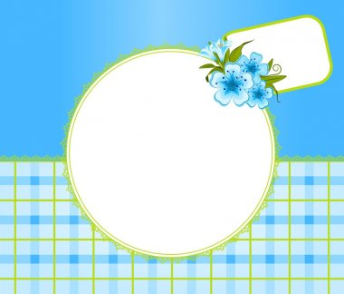 Violets with lace ornaments on background. Vector