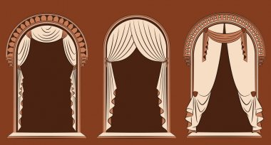 The vintage arch with curtain.