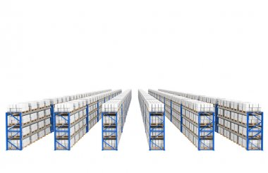 Shelves x 60. Top Perspective view. Part of a Blue Warehouse and logistics