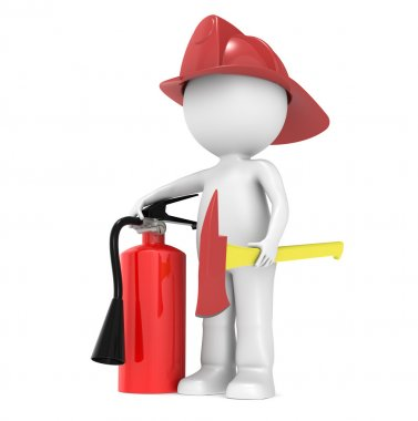 3D Little Human Character The Fire Fighter