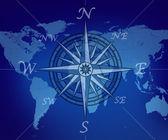 mapa světa s kompasem