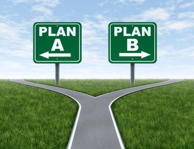 Cross roads with plan A plan B road signs business symbol represnting the difficult choices and challenges when selecting the right strategic path to take on a stock vector