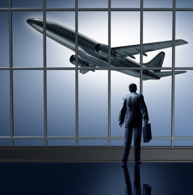 Airport departure waiting at the terminal lounge represented by a businessman standing with a breifcase in front of large glass windows looking at an airplane t stock vector
