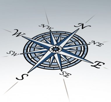 Compass rose in perspective on white background representing a cartography positioning direction symbol for navigation and setting a chart for exploration to th stock vector