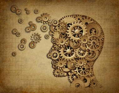 Human brain function grunge with gears