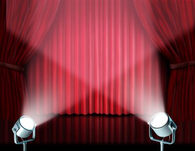 Spotlights on red velvet cinema curtains