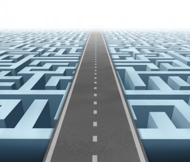 Solutions and success with clear vision and strategy due to careful planning and management building a road bridge over a maze cutting through the confusion and stock vector