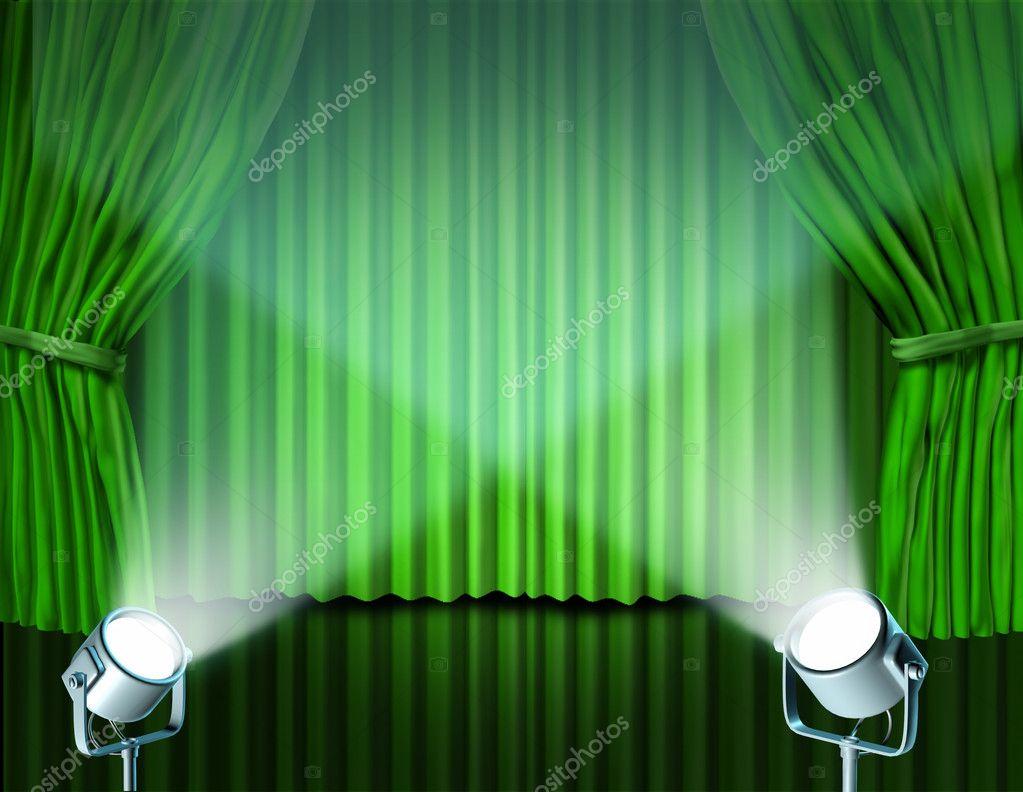 spotlights on green velvet cinema curtains u2014 stock photo