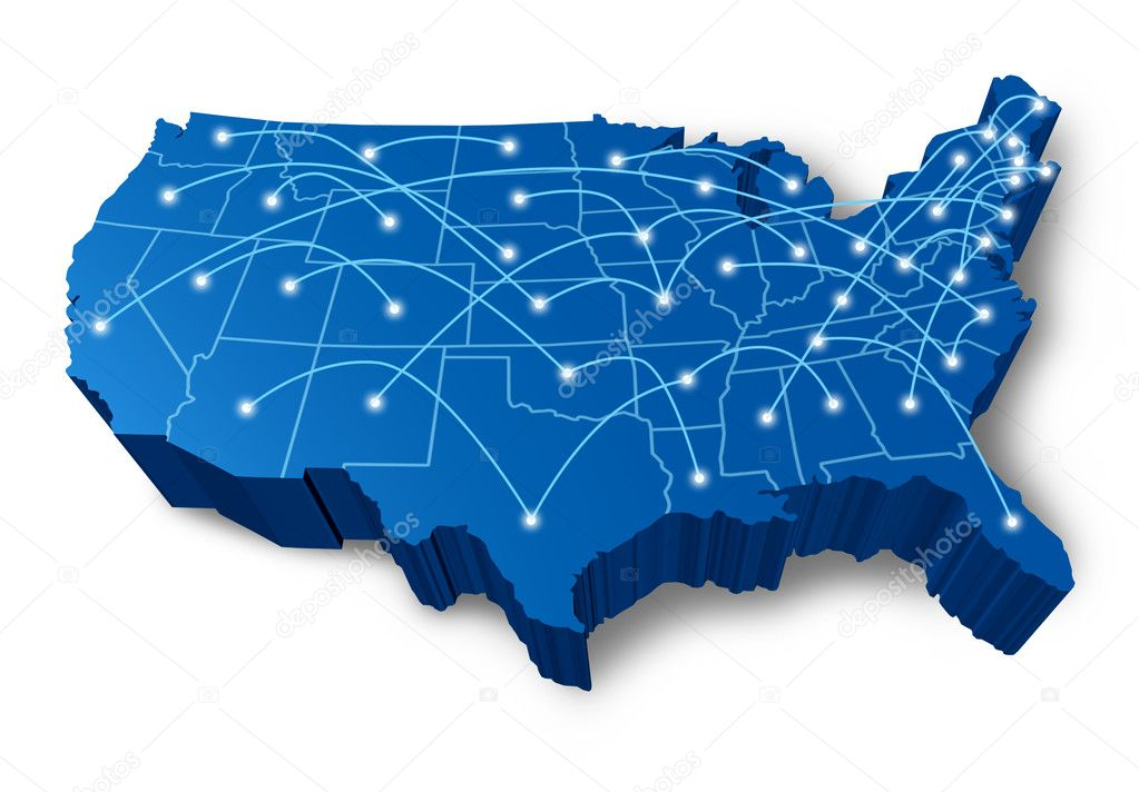 U.S.A 3D map communication network