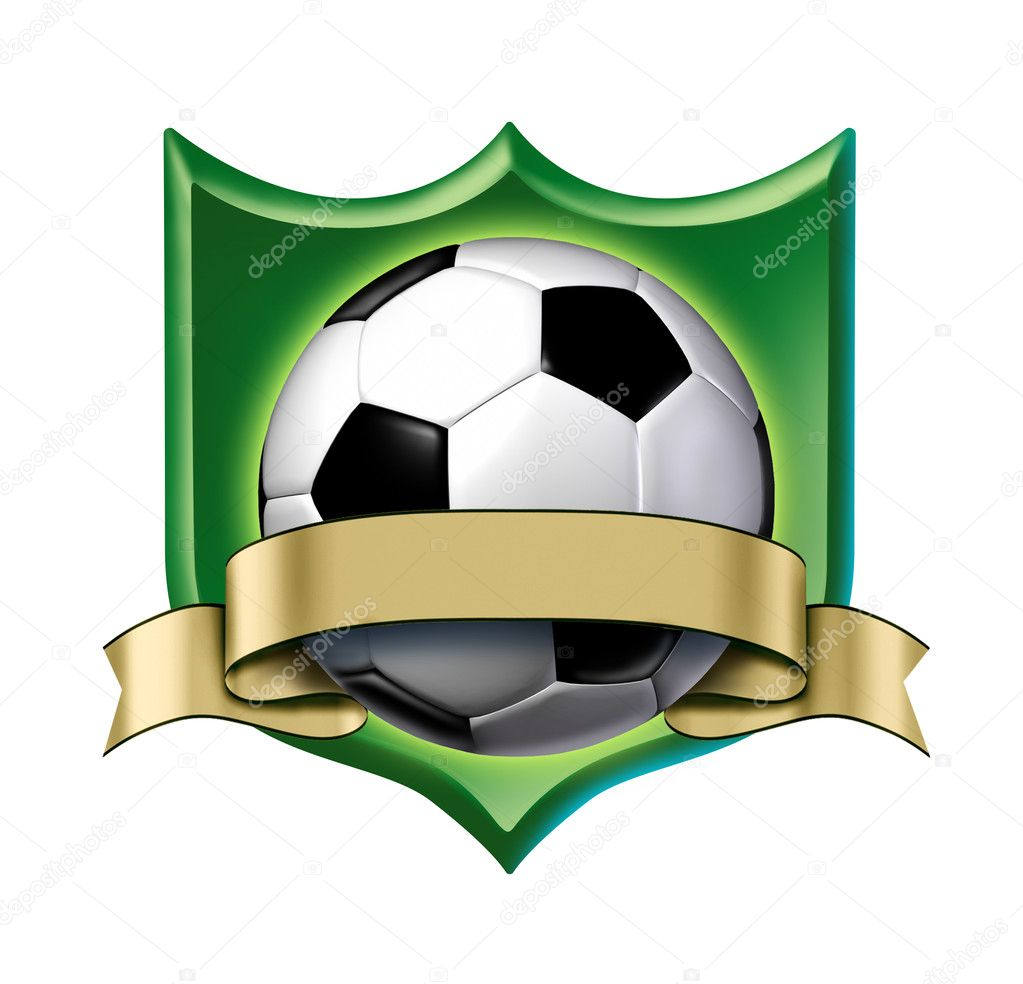 Soccer Crest Award With Blank Gold Label Stock Photo