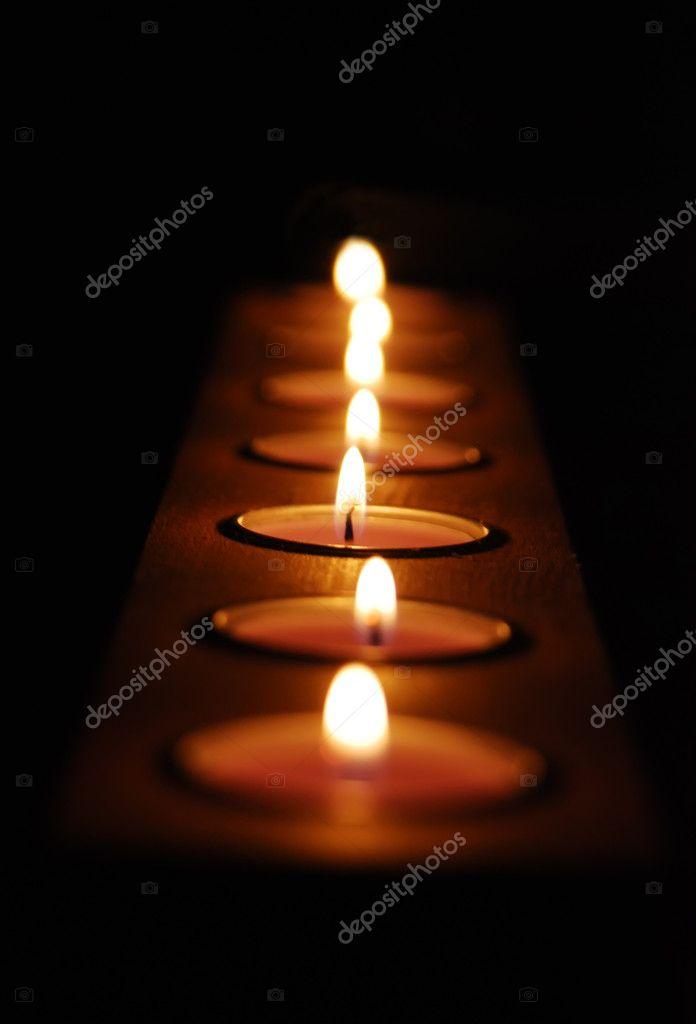 Wiersz świec Romantyczny Tło Zdjęcie Stockowe