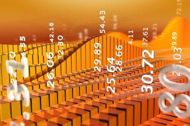 Abstract stock market chart orange