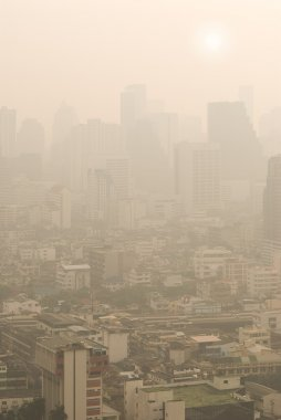 Bangkok in haze on ordinary morning stock vector