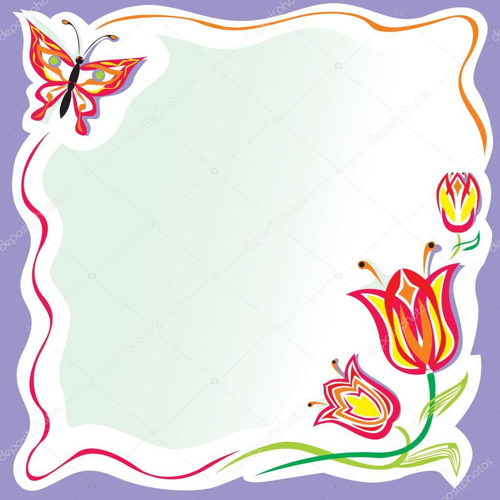 Cornice fiori stilizzati con farfalla vettoriali stock for Fiori stilizzati immagini