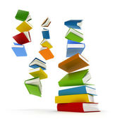 Colored books with clear cover falling in pile isolated on white