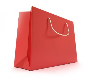 Red Shopping Bag. Clean cover . Isolated on white
