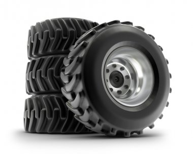 Tractor heavy wheels set isolated on white