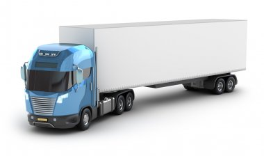 Blue truck with trailer top view isolated on white.