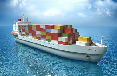 Cargo ship sails across the Ocean. High quality 3d render