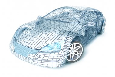 Car design, wireframe model.